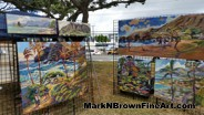 Mark N Brown's paintings, inspired by the lovely landscapes of Hawaii are on display at t eh I Love Kailua Town Party 2015