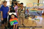 Plein Air artist Mark N Brown with young artists at the MDA Summer Camp Painting Session