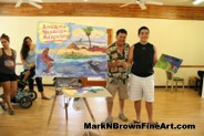 Hawaii Plein Air Artist Mark N. Brown and a young painter at the MDA Summer Camp 2015