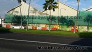 View from from across the street. Hawaii artist Mark N Brown's Nishimoto Trading Co Mural in progress